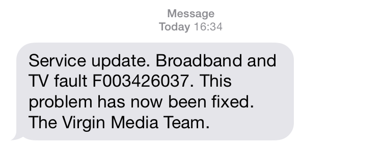 SMS Alert from Virgin Media