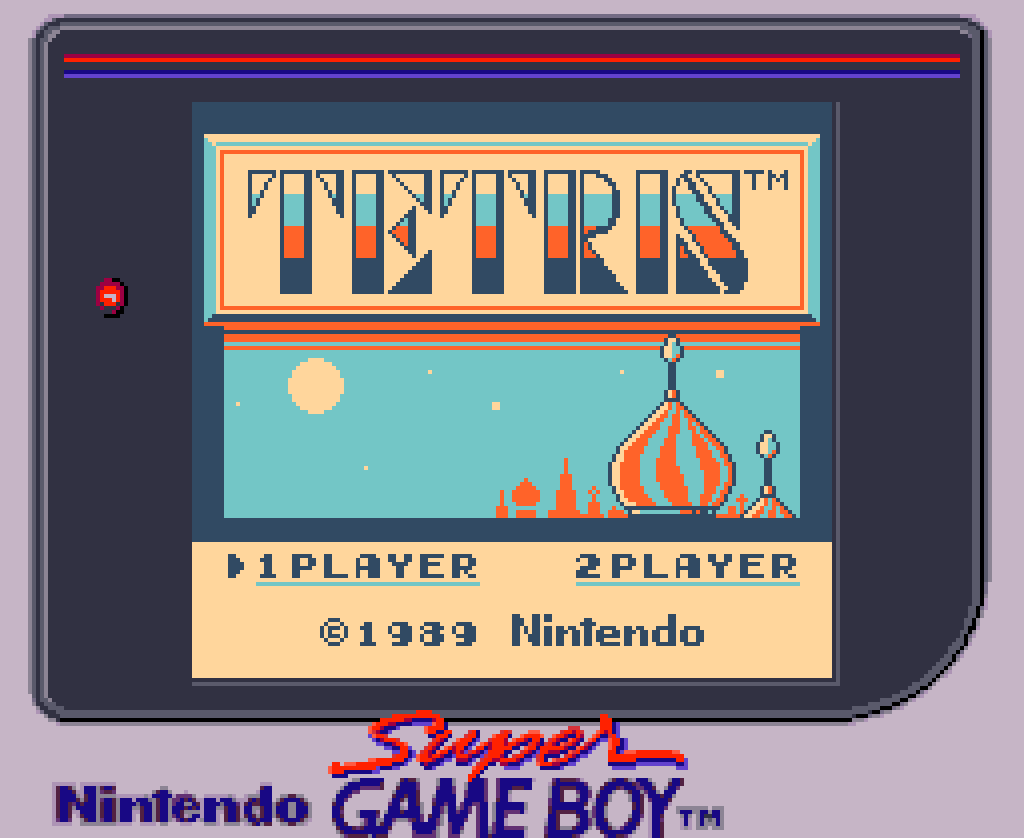 Tetris title screen on Super Game Boy
